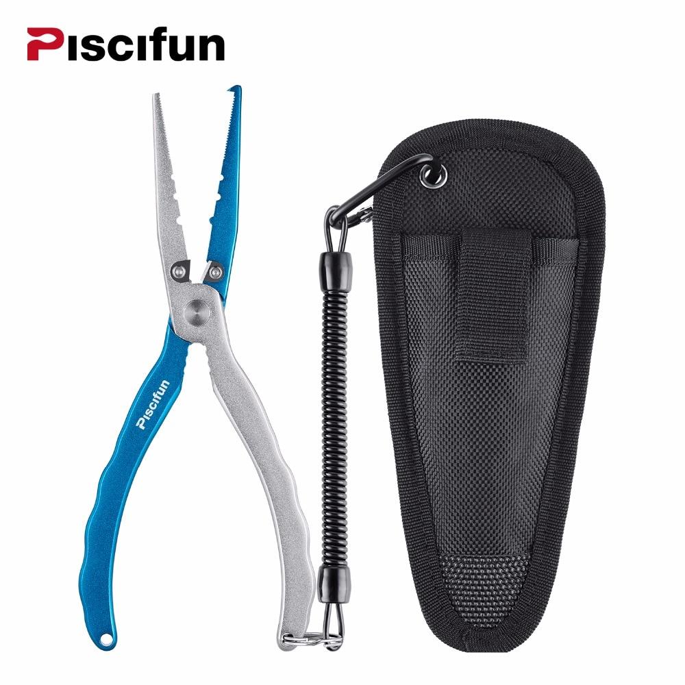 Piscifun 21.5cm Aluminium Alloy Braid Cutter Fiske Tanger Cutters Kroker Remover With Sheath Split Ring Fishing Tackle