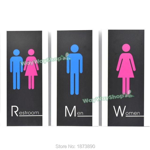 One Set Men Women Restroom Sign Bathroom PVC Modern Adhesive Unise Toilet  Gender 2 Style 260mm