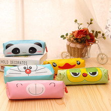 Creative Kawaii Bear Panda PU Pencil Case Cute Cartoon Doraemon Pencil Box For Kids Korean Stationery