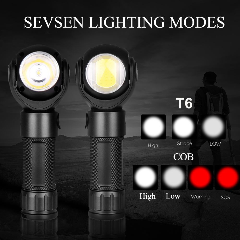 Led Flashlight 360 Degree T6+COB lantern 8000LM Waterproof Magnet Mini Lighting LED Torch Outdoor use 18650 or 26650 battery