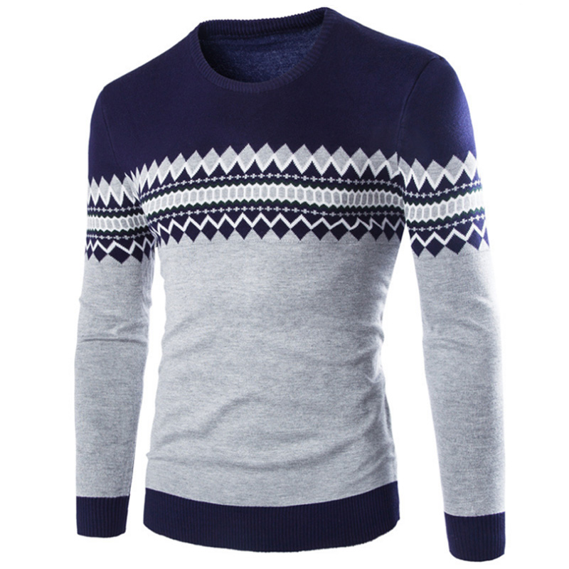 2018 Brand New Sweaters Men Fashion Style Autumn Winter Patchwork Knitted Quality Pullover Men O Neck