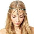 Romántico Indio tiara de La Corona de La Aleación del Cinc de La Joyería Del Pelo de La Borla de La Cabeza de Cristal Azul Turquesa y Perla Cadena de Cabeza para las mujeres CF048