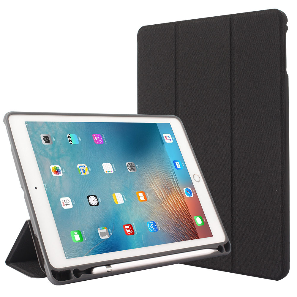 For iPad Pro 9.7 A1673 A1674 A1675 Tablet Tri fold Stand PU Denim Leather Smart Cover Soft TPU Case Build in Apple Pencil HolderTablets & e-Books Case   -