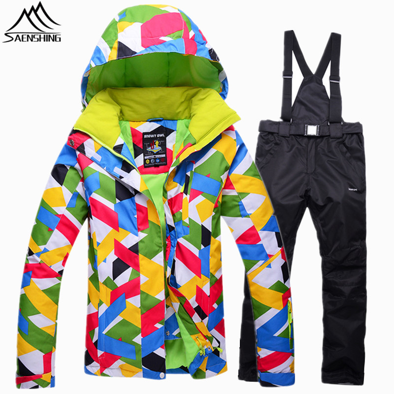 SAENSHING Warm Winter Ski Suit Women Skiing Snowboard Jacket Ski Pant Waterproof Breathable Snowboarding Suits Outdoor Snow Sets купить