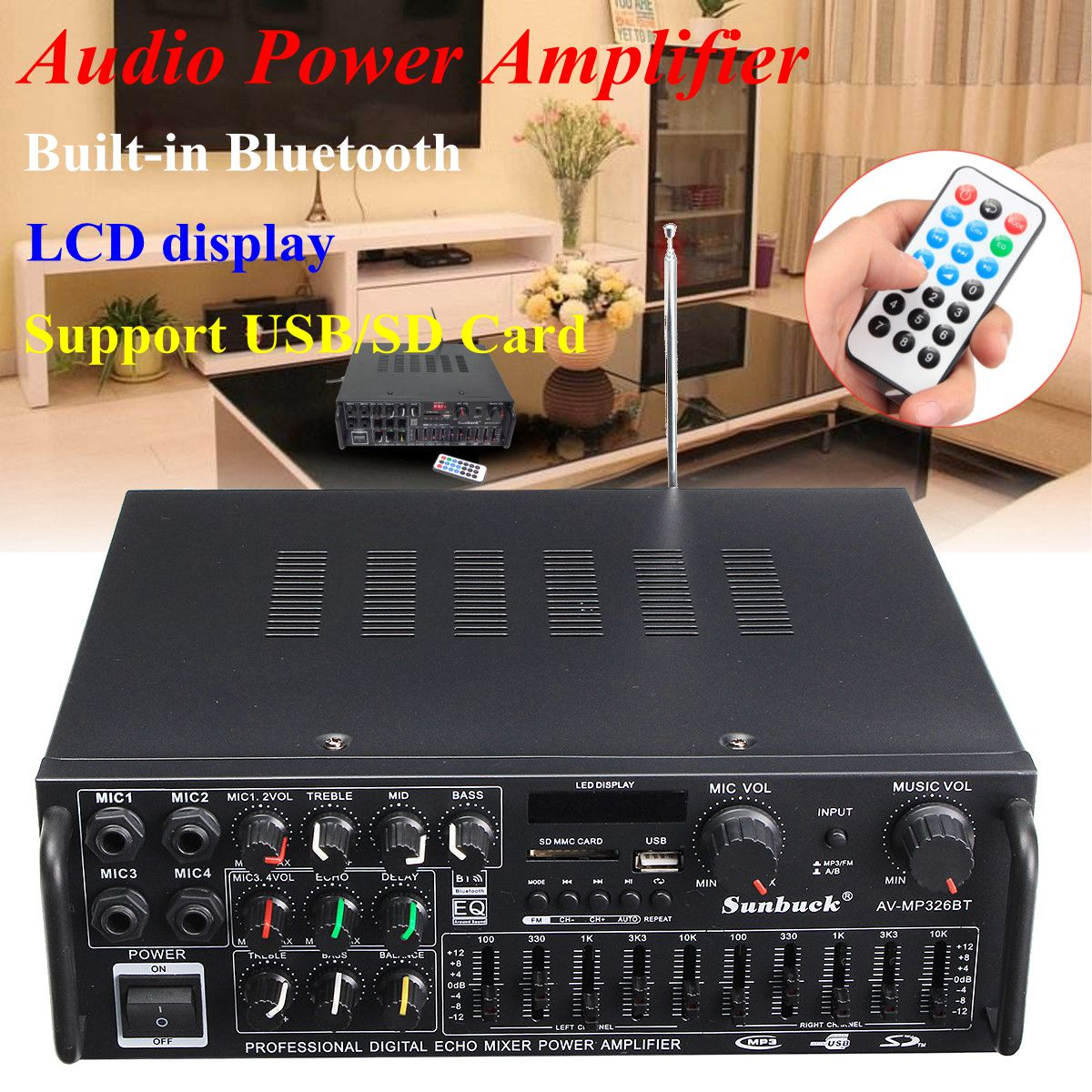 2000W bluetooth 2.0 Channel Audio HiFi Amplifier Stereo 326BT 12V/220V AV Amp Speaker Support 4 Microphone Reverb Equilibrium2000W bluetooth 2.0 Channel Audio HiFi Amplifier Stereo 326BT 12V/220V AV Amp Speaker Support 4 Microphone Reverb Equilibrium