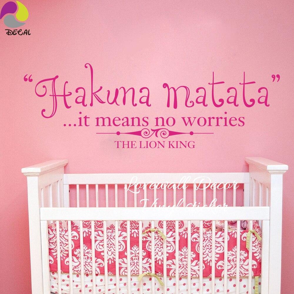 Us 5 93 10 Off Cartoon Hakuna Matata It Means No Worries The Lion King Wall Sticker Baby Nursery Kids Room Cute Simba Decal Vinyl Decor In