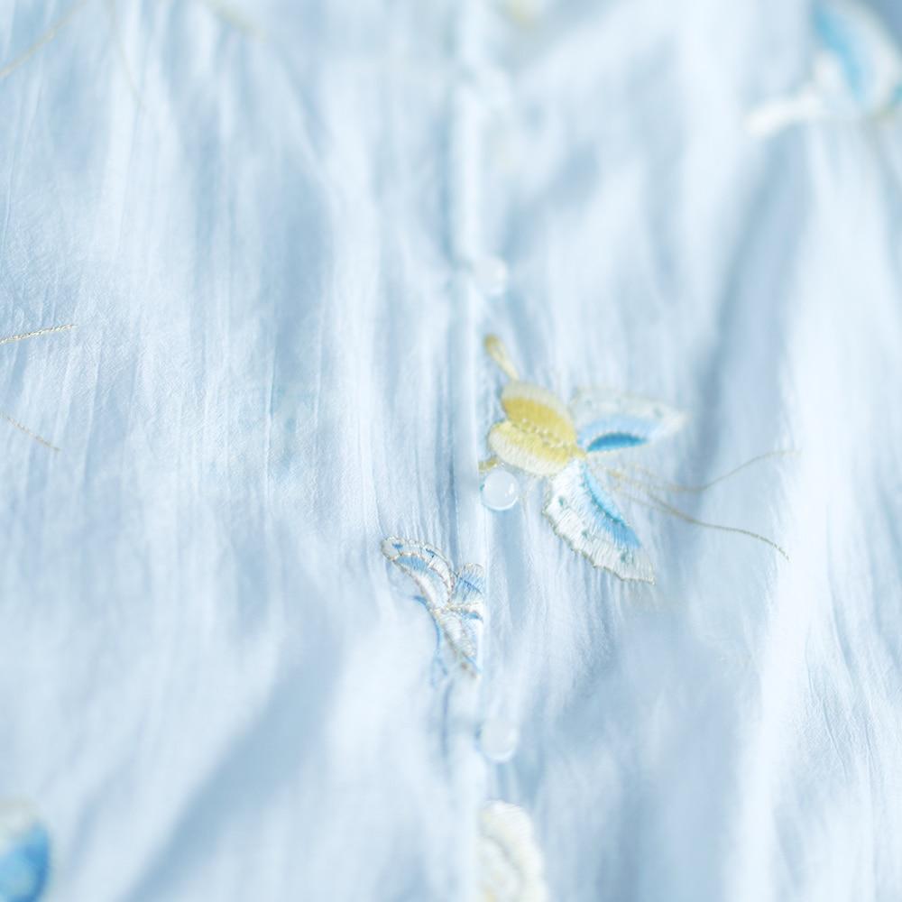 Lado divide longo borboleta IRINAW682 nova chegada do verão 2018 do vintage bordado camisa das mulheres - 3