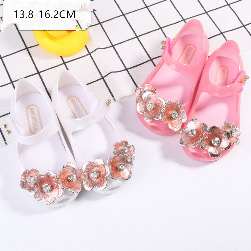 Mini Melissa 2 Color 2018 New Jelly Sandals Childrens Sandals Flower Princess Melissa Jelly Shoes Sandals Jelly Sandals