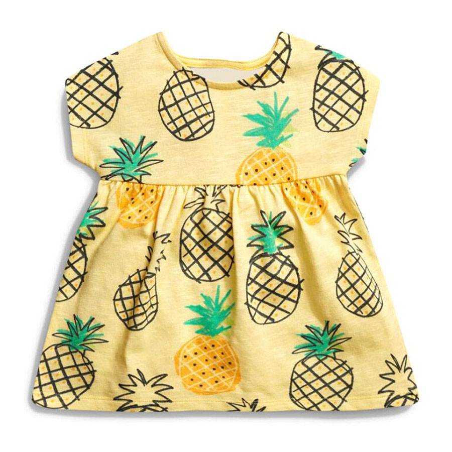 little maven 1-6year cotton party dresses yellow print pineapple little girls dresses o-neck girls dress for children clothing 5