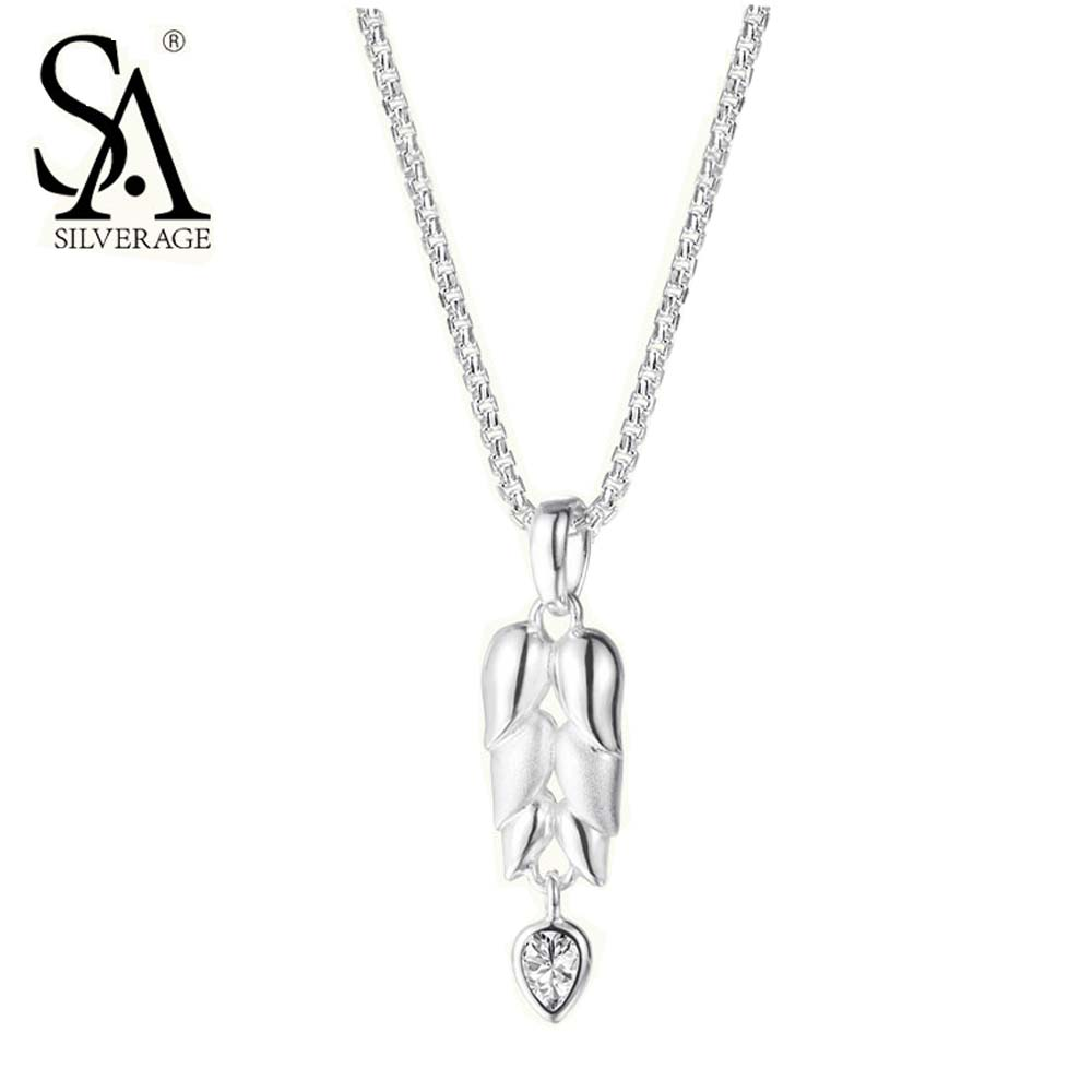 SA SILVERAGE 925 Sterling Silver Necklaces Pendant for Women Fine font b Jewelry b font wheat