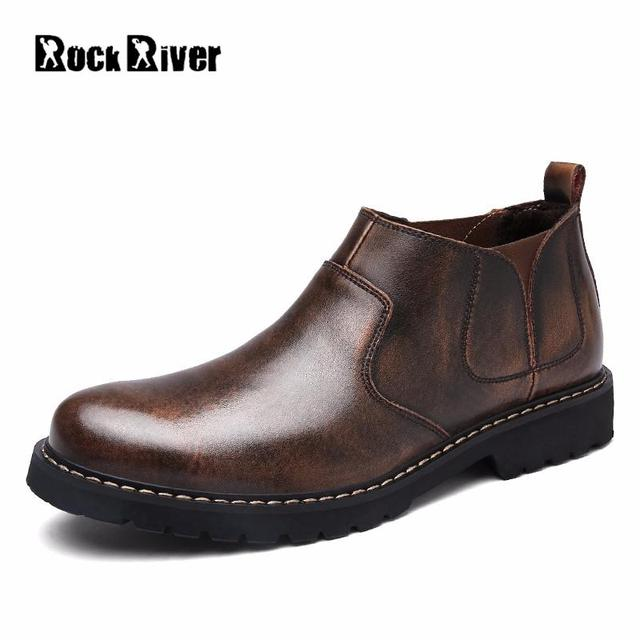 Rock River Brand Genuine Leather Chelsea Boots Men Office Ankle 2017 Fashion Business Casual Shoes