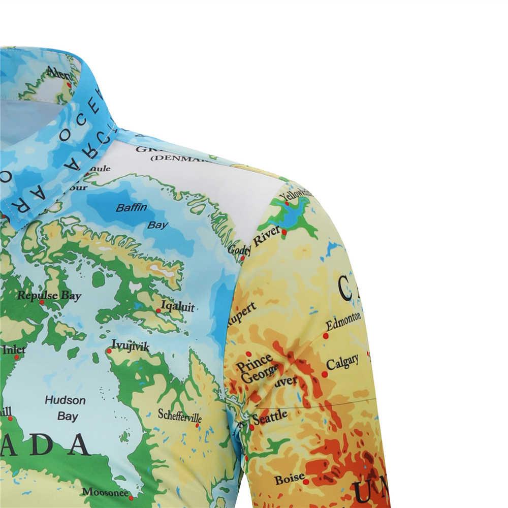 Hemiks 世界地図プリント男性シャツ隠しボタン春秋長袖ラペルカジュアルシャツメンズカミーサ Masculina