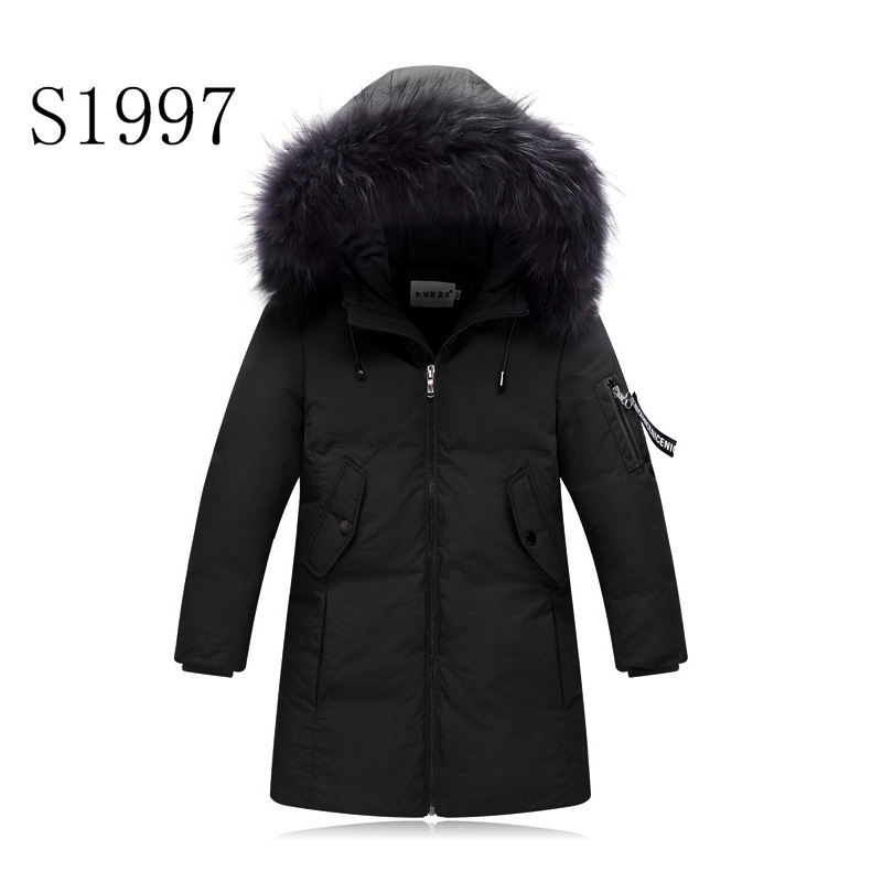 Warm Fur Collar Solid White Duck Down 5-14T Boy Winter Down Parkas Hooded Winter Coat  Long Down Thickening Coat Free Shipping winter high end white duck down women jacket long real fox fur collar thickening hooded solid color warm outerwear coat mz1921