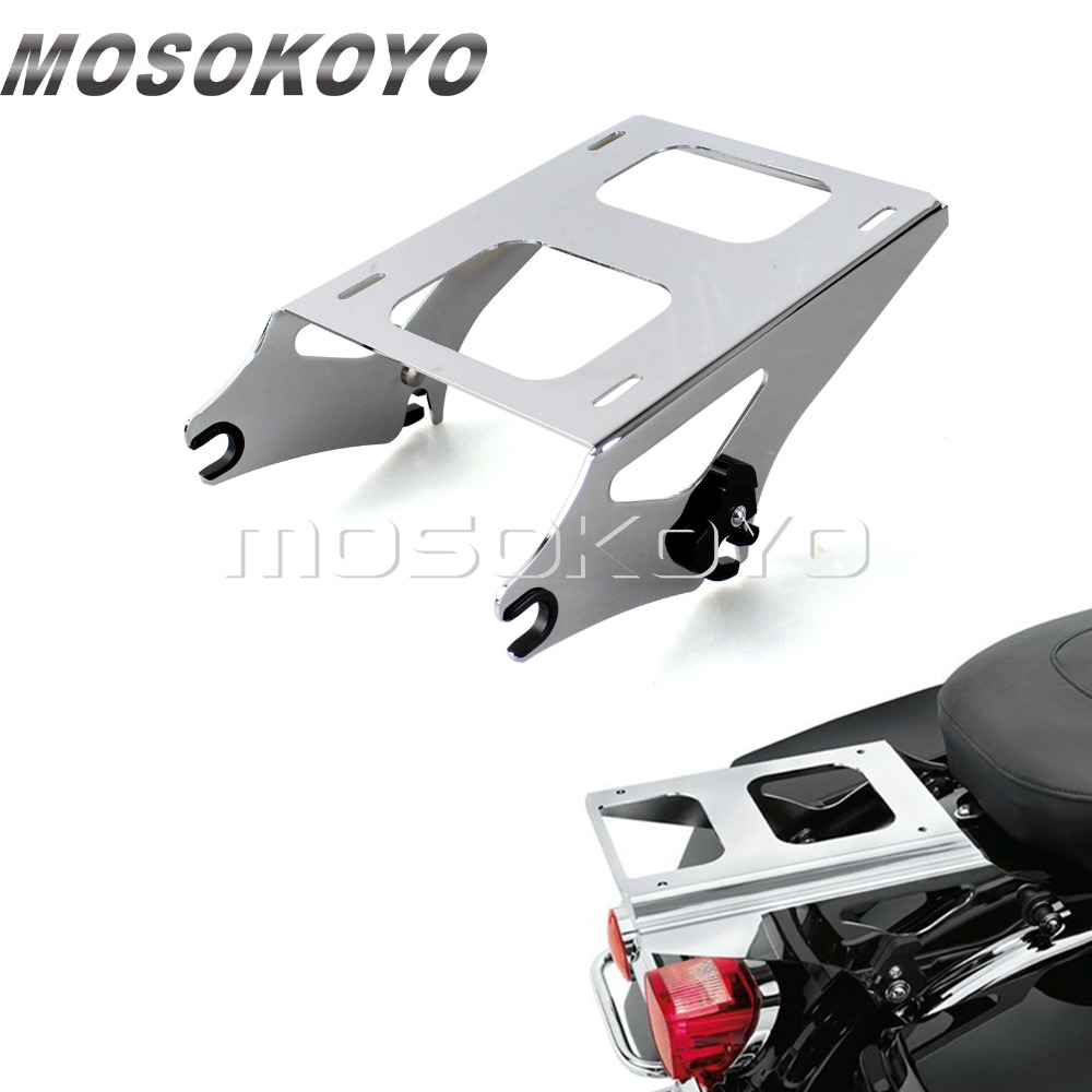 Chrome Detachable 2-Up Tour Pak Luggage Rack Rear Carry Racks for Harley Touring Road King Street Glide FLHR FLHX 2014-2017