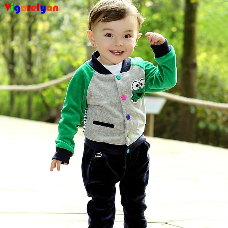 Baby kids soft velvet jacket +velvet Pants Sets Autumn Children Vestidos Baby Boys Cartoon Sticked Coat+ Print Trousers Suits velvet обувь спб