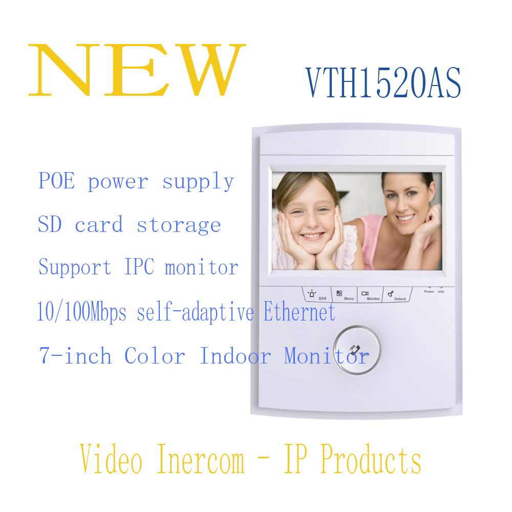 Free Shipping DAHUA Doorbell Camera Video Intercom System Color 7-inch Color Indoor Monitor Touch screen Without Logo VTH1520AS original 7 inch touch screen dahua dh vth1550ch color monitor with to2000a outdoor ip metal villa outdoor video intercom system