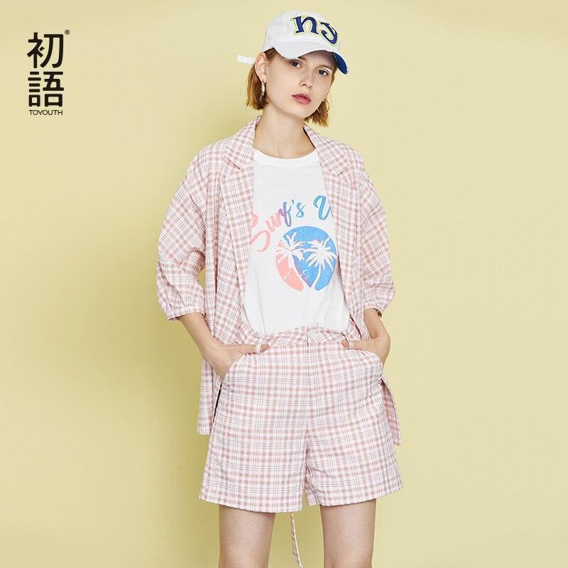 Toyouth Women Plaid Work OL Suit Female Blazer And Shorts Suit Set Female Coat Chic Suit