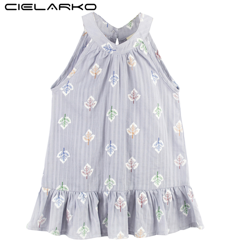 Cielarko Girls Dress Summer Kids Beach Dresses Leaf Printed Sleeveless Cotton Dress Children Casual Cothing for Baby Girl ...