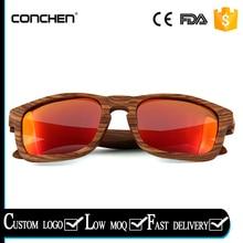 2017 fashional spring metal hinge zebra wood frames with red revo polarized lens wooden sunglasses