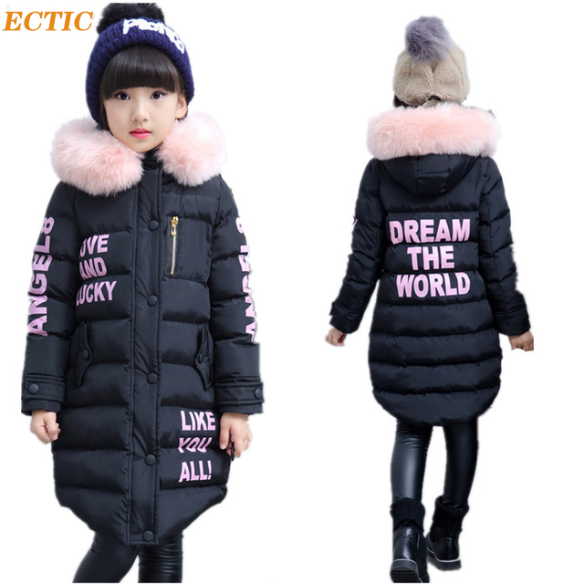 Girls Winter Coat Casual Outerwear Warm Long Thick Hooded Jacket for Girls 2017 Fashion Teenage Girls Kids Parkas Girl Clothing winter baby girl coats kids warm long thick hooded jacket for girls 2017 casual toddler girls clothes children outerwear