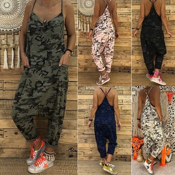 Women Camo Printed Clubwear Playsuit Bodysuit Party Jumpsuit Romper Camouflage Strap Pocket Harem Long Trousers Loose Overalls 1