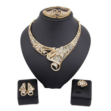 Top Women Christmas Gifts Flower Shape Bridal Jewelry Accessories Gold Necklace Crystal Earrings Italian Jewelry Sets