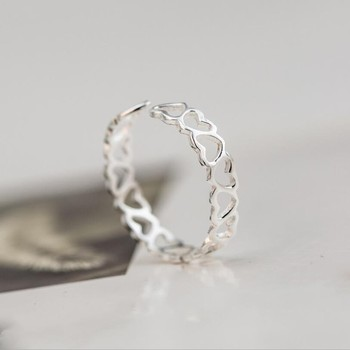 New Popular 925 Sterling Silver Jewelry Fine Small Fresh Fashion Simple Heart-shaped Love Hollow Opening Rings  SR33