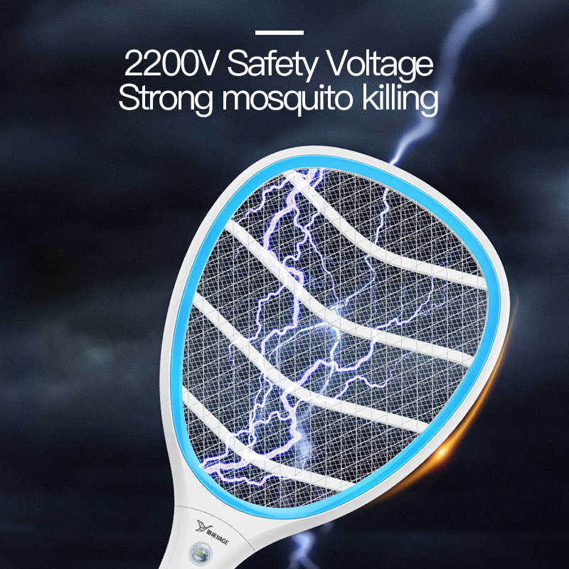 Yage Listrik Nyamuk Pemukul Nyamuk Pembunuh Pengendalian Hama Bug Zapper Menolak Raket Perangkap Rumah Alat 2200V Electric Shock 400 MAH