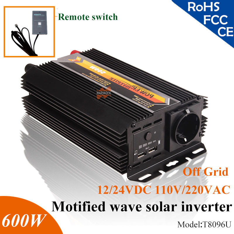 600W 12V 24V modified sine wave solar inverter home use off grid solar inverter with 5V USD