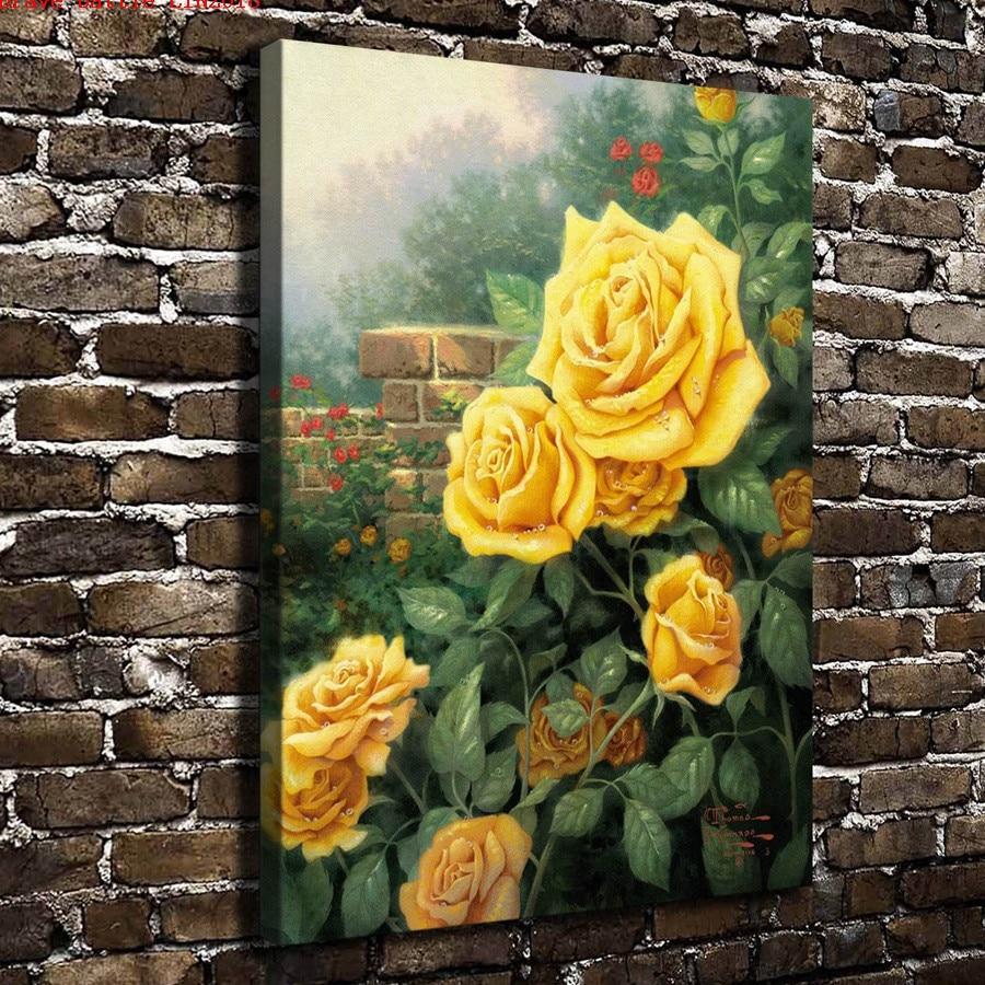 Thomas Kinkade A Perfect Yellow Rose Canvas Painting Print Living ...