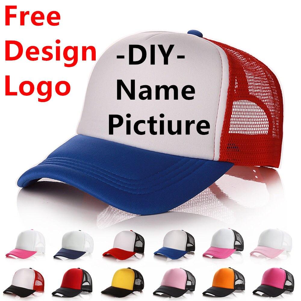 100pcs Aangepaste Logo Baseball Cap Volwassen Kind Persoonlijkheid DIY Ontwerp Trucker Hoeden Leeg Mesh Cap Mannen Vrouwen