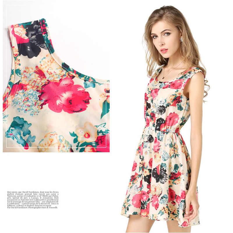 Kadın yaz elbisesi 2018 kadın Boho şifon elbise seksi çiçek baskı elbise pilili parti Clubwear plaj elbise artı boyutu 2XL