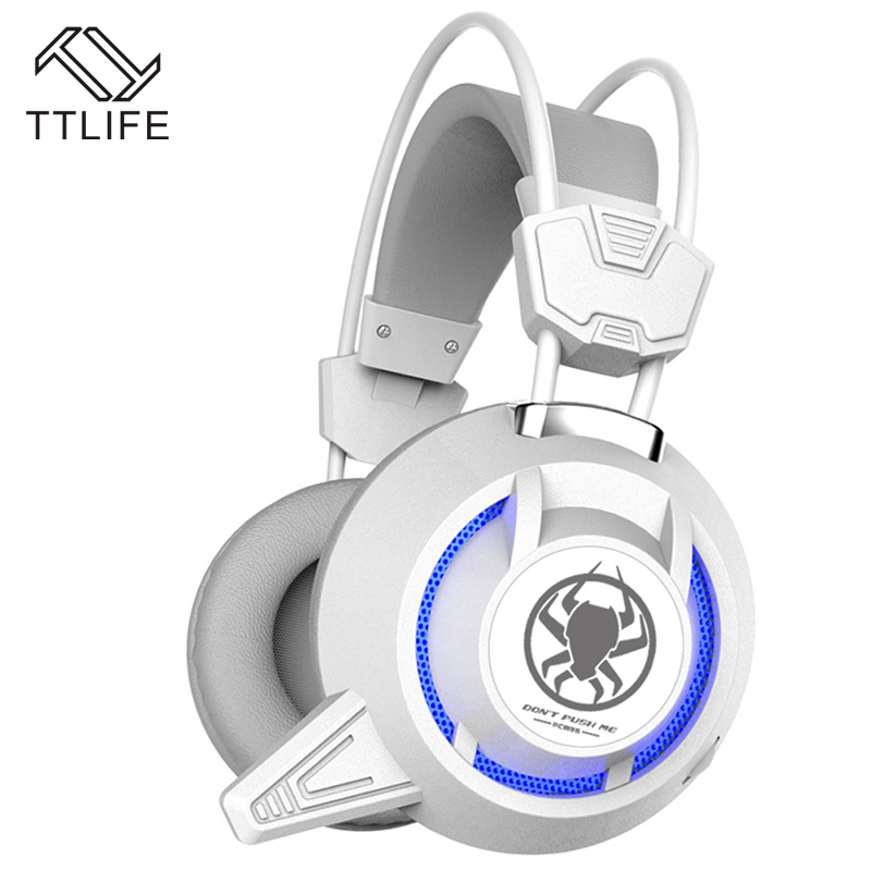 TTLIFE Wired Gaming Headphones PC835 USB+3.5mm Double Plug PC Gamer Led Light Headset With Hd Mic for Pc Phone Internet Bar each g8200 gaming headphone 7 1 surround usb vibration game headset headband earphone with mic led light for fone pc gamer ps4