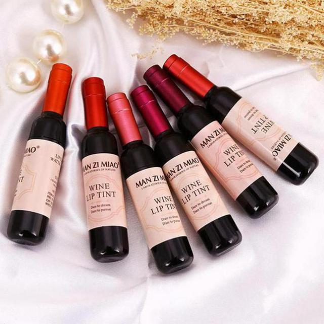 Лидер продаж красное вино бутылки матовый Блеск для губ Водонепроницаемый длительный блеск для губ увлажняют губы оттенок косметической жидкости Губная помада 6 цветов