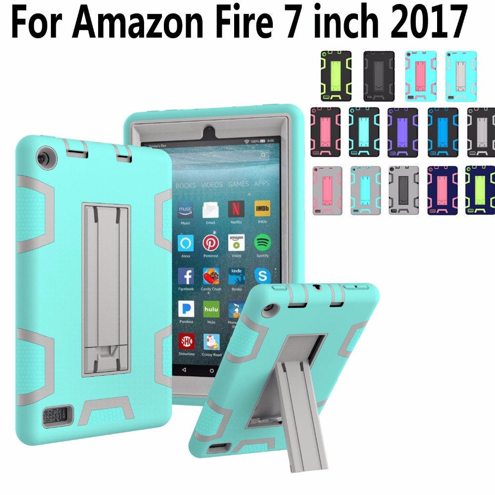 Kids Safe Armor Case For Amazon Fire 7 2017 Kickstand Shockproof Silicone Tablet Case Cover For Amazon Fire 7 inch 2017 Version