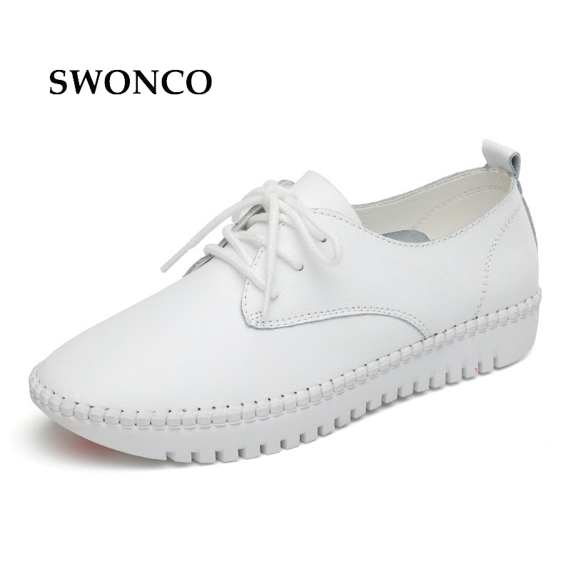 SWONCO Women's Sneakers 2018 Spring Autumn Leather Shoes Women Sneakers White Black Solid Color Lace Up Breathable Female Shoes free shipping candy color women garden shoes breathable women beach shoes hsa21