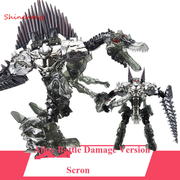 SHINEHENG New Arrival Deformation Movie 4 Scron Robot Dinosaur Model ABS&Alloy Action Figure Toy Boy Gift Battle Damage Version dinosaur transformation plastic robot car action figure fighting vehicle with sound and led light toy model gifts for boy