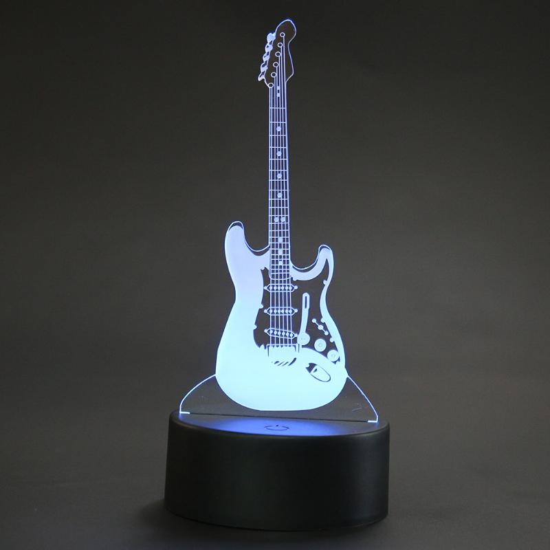 Acrylic Board LED Night Light Guitar Shape Lighting USB LED Night Lamp Flash 3D Christmas Atmosphere Light 3d christmas snowman shape touch colorful night light