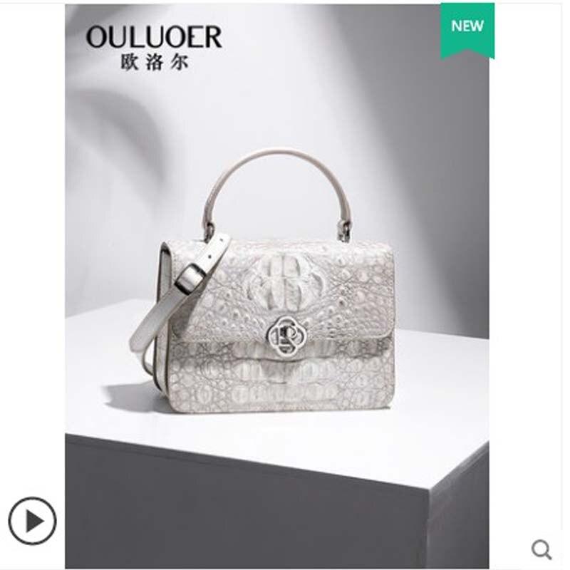 Ouluoer sac à bandoulière unique en cuir de crocodile thaï sac à bandoulière diagonale sac à chaîne petit sac dame blanc petit carré femmes