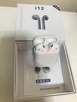 TWS i12 Bluetooth headset with charging box white color