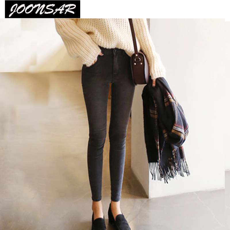 Spring Autumn Women Jeans Elastic Skinny High Waist Ankle-Length or Full Length Pencil Pants Plus-Size Women Clothes  2017 spring elastic frayed skinny jeans women classic high rise with rips two colors