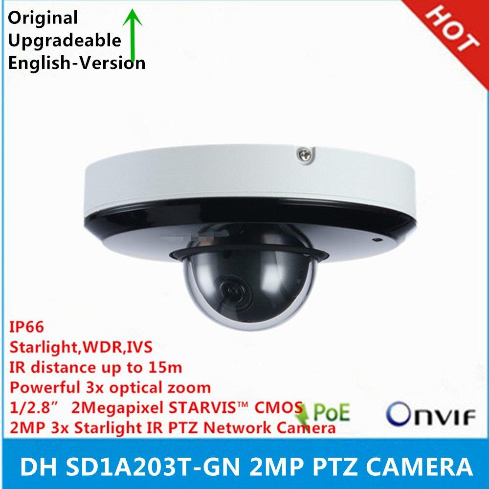 original DH SD1A203T GN support IVS PoE IR15m IP66 2MP 3x Starlight IR PTZ Network Camera