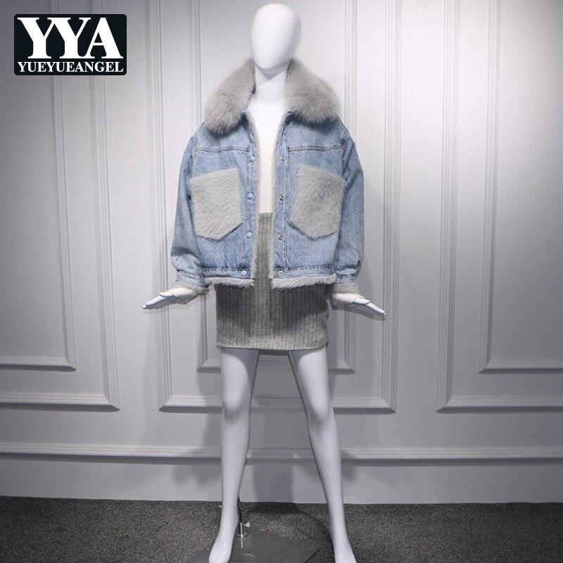 2019 coréen grandes poches réel fourrure de renard col Denim vestes femmes mode hiver chaud polaire coton court Jeans manteaux Streetwear