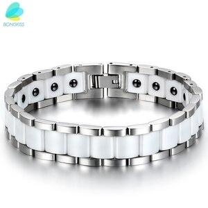 Image 2 - BONISKISS męski duży ciężki zdrowie energia ceramiczne Bio bransoletki magnetyczne ze stali nierdzewnej (czarny/złoty/biały)