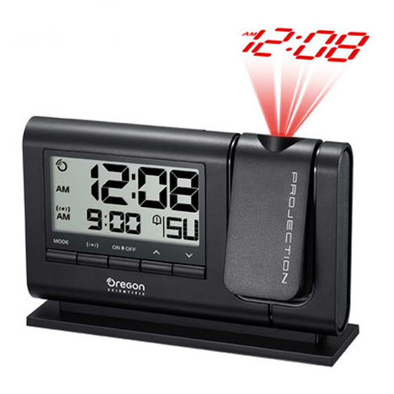 Clocks Laser Projecting Double Alarm Clock Large Display Time Temperature Projector With Battery/ Adapter Power Table Clock
