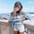 2017 new fashion women casual cotton summer blue strapless flower dentelle off shoulder elegant shirts blusas blouses tops