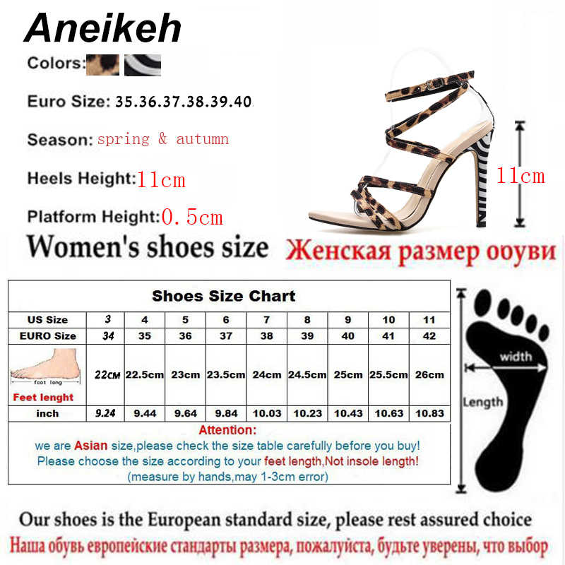 Aneikeh 2019 Seksi Leopar Baskı Sandalet Yaz Ayakkabı Kadın Ince Yüksek Topuklu Burnu açık Bayan Çapraz bağlı Ayak Bileği Kayışı ayakkabı Boyutu 35-40