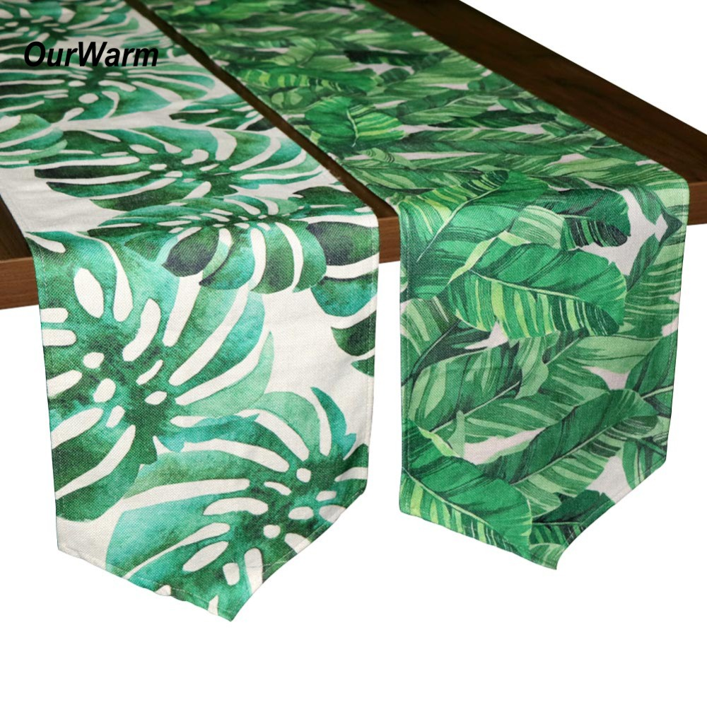 OurWarm Hawaiian Party Decorations 30X220cm Tropical Green Leaves Table Runner Baby Shower Decoration Birthday Party Supplies