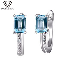 DOUBLE-R Real Diamond Wedding Earrings Women 1.5ct Square Natural Stone Earrings Blue Topaz 925 Silver Jewelry Female Gift