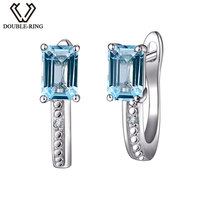 DOUBLE R Real Diamond Wedding Earrings Women 1.5ct Square Natural Stone Earrings Blue Topaz 925 Silver Jewelry Female Gift